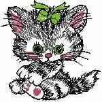 Katze mit Schleife im Kopf, 98x98 mm, 4443 Stiche,  nicht ausgefüllt, nur auf hellen Farben möglich