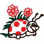 Käfer mit Blume, 98x79 mm, 8151 Stichr,  nicht ausgefüllt, auf helle Farbe empfohlen