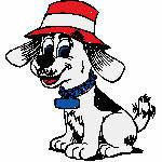 Hund mit Hut, 100x100mm, 11666 Stiche