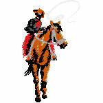 Pferd mit Cowboy, 56x98 mm, 6389 Stiche