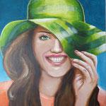 vrouw met hoed (60x80 cm)