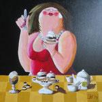 dikke vrouw met gebak verkocht (50x50 cm)