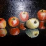 5 appels verkocht (50x60 cm)