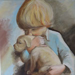 jongetje met hond (40x40 cm) verkocht