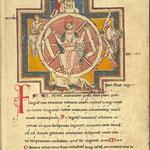 """Das Schicksalsrad, Buchmalerei aus dem """"Codex Buranus"""""""