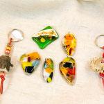 Glasschmuck, Schlüsselanhänger aus Hirschhorn