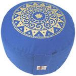 """Ur-Mandala Variation"" Designer Meditationskissen Gr.M jeansblau"