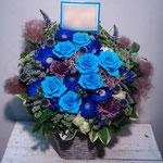 青(Blue)のフラワーアレンジメント。東京都23区送料無料。目黒区からお届け。