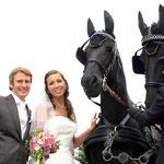 Hochzeitfotografie, Hochzeitspaar mit Pferden