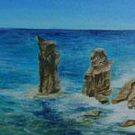CARLOFORTE, LE COLONNE - olio su pannello telato 24 x 30 cm