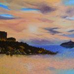 Dopo la bufera, la quiete di un dolce tramonto alla fortezza vecchia ( Villasimius ) - olio su pannello telato 25 x 35 cm