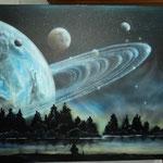Weltraum auf Leinwand