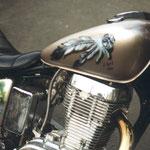 Feder auf Motorradtank