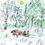"Николай Рубцов. ""По дрова"". Рисовал Николай Ш., 4а класс"