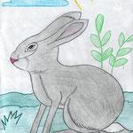 """Николай Рубцов. """"Про зайца"""". Рисовала Ульяна Ш., 1в класс"""