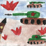 """""""Наши танки"""". Рисовал Даниил С., 1б класс"""