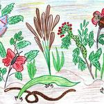 """Николай Рубцов. """"Зелёные цветы"""". Рисовала Ксения К., 7д класс"""