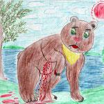"""Николай Рубцов. """"Медведь"""". Рисовала Карина К., 1в класс"""
