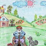 """Николай Рубцов. """"Добрый Филя"""". Рисовала Фаина К., 2а класс"""