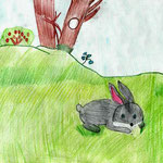 """Николай Рубцов. """"Про зайца"""". Рисовала Елизавета Г., 1б класс"""