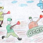 """""""В атаку!"""" Рисовал Елисей П., 2в класс"""