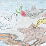 """""""Победа во имя мира"""". Рисовала Алина К., 4б класс"""