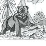 """Николай Рубцов. """"Медведь"""". Рисовал Егор К., 2а класс"""