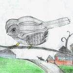 "Николай Рубцов. ""Воробей"". Рисовал Вячеслав Г., 7е класс"