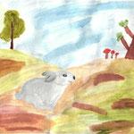 """Николай Рубцов. """"Про зайца"""". Рисовала Екатерина К., 1а класс"""