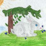 """Николай Рубцов. """"Про зайца"""". Рисовала Карина К., 2а класс"""