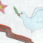 """Победа во имя мира"". Рисовала Ариана М., 4б класс"