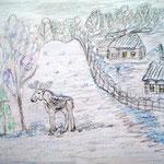 """Николай Рубцов. """"Первый снег"""". Рисовал Денис Ф., 2б класс"""