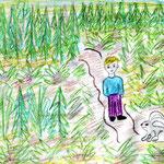 """Николай Рубцов. """"Про зайца"""". Рисовала Екатерина П., 4в класс"""