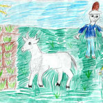 "Николай Рубцов. ""Коза"". Рисовала Елизавета Б., 1а класс"