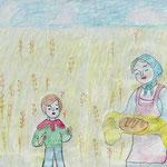 """Николай Рубцов. """"Хлеб"""". Рисовал Егор Е., 1в класс"""