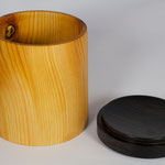 Wooden Box hand turned from yew wood and african blackwood top