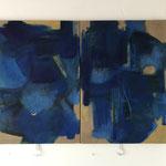 """""""Gebundenes Wasser"""" V., Öl auf Leinwand, zweiteilig je 100 x 70 cm, 2021"""