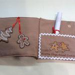 Particolare segna libro libretto gingerbread con ricetta biscotti