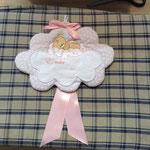 Fiocco nascita bimba nuvoletta personalizzato