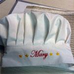 Particolare cappello da chef con ricamo nome