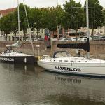 Boote mit interessanten Namen im Stralsunder Hafen
