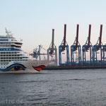 Große Fahrt mit Spalier. - Hamburg, Hafen