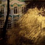 Ermitage, pigments, acryliques, fusain sur toile, 2014