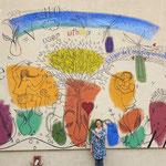 Ligue de l'enseignement, 37 avenue des Clairions, Auxerre (89) Peintures acryliques, environ 10 x 6 mètres