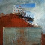 Eclatement, pigments, acryliques sur papiers collés sur toile, photographie de Serge Procoudine-Gorsky, 92 x 60 cm, 2013
