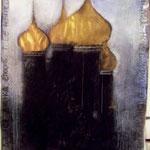 Eglises, pigments, acryliques sur papier, craies, 1.50 x 1.85 m, 2013