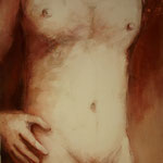 62 x 90 cm, sanguine, pigments, vinyl et acryl sur toile