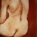 80 x 80  cm, sanguine, pigments, vinyl et acryl sur toile
