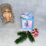 Weihnachtswürfelbox hellblau mit Motiv