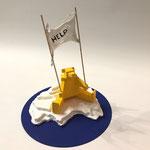 """""""Help bear"""" structure origami papier recouvert de résine,  (34x30cm)- Bobo Artist"""